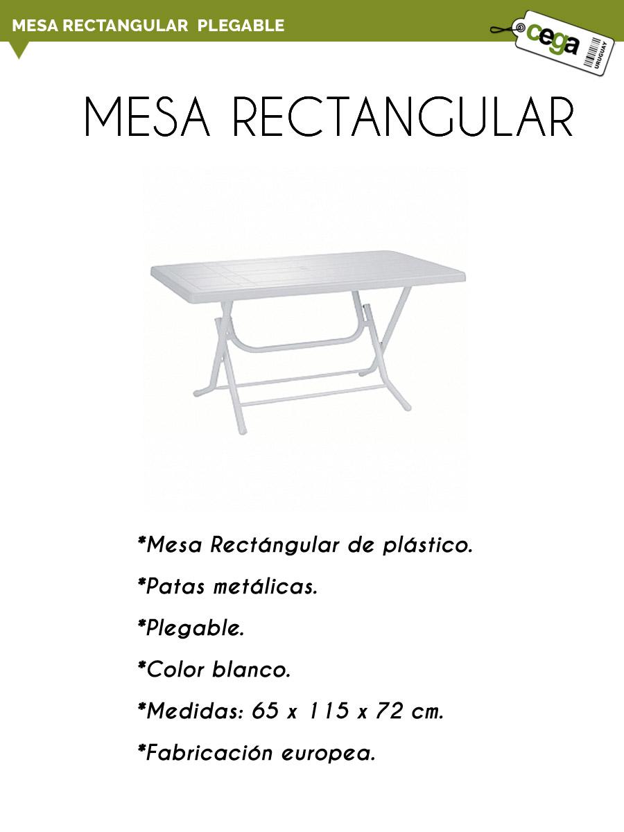 Mesa de pl stico rectangular plegable 65x115 for Mesa plegable mercado libre